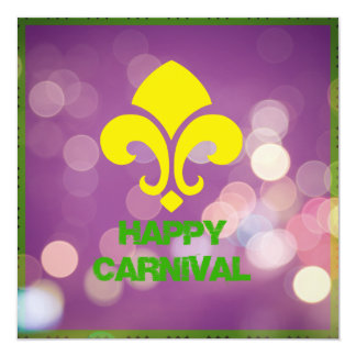 Happy Mardi Gras Invitation with Bokeh Lights