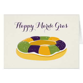 Happy Mardi Gras King Cake Fat Tuesday Greeting Card
