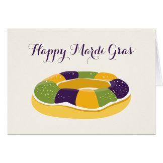 Happy Mardi Gras King Cake Fat Tuesday Greeting Card