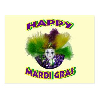 Happy Mardi Gras Mask Postcard