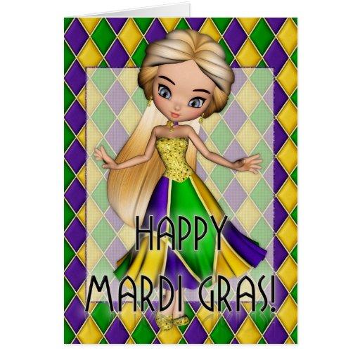 Happy Mardi Gras Party Girl Greeting Card