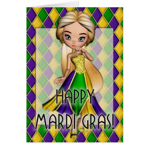 Happy Mardi Gras Party Girl Greeting Card d2
