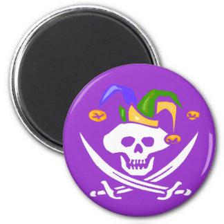 Happy Mardi Gras Pirate 6 Cm Round Magnet