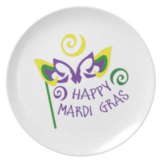 HAPPY MARDI GRAS DINNER PLATE