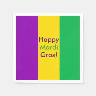 Happy Mardi Gras - purple green gold Disposable Serviettes