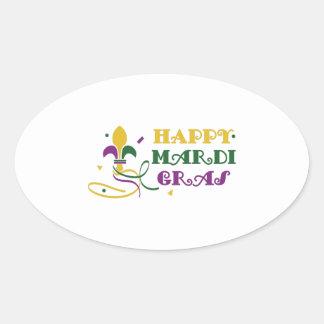 HAPPY MARDI GRAS OVAL STICKERS