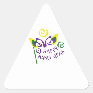 HAPPY MARDI GRAS TRIANGLE STICKER