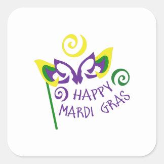 HAPPY MARDI GRAS SQUARE STICKERS