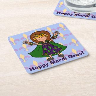 Happy Mardi Gras! Square Paper Coaster