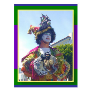 Happy Mardis Gras clown Postcard