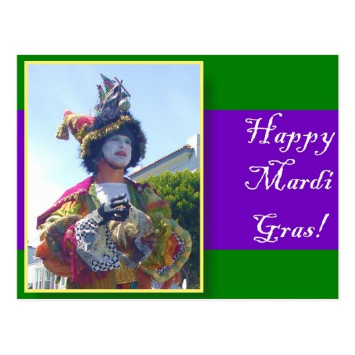 Happy Mardis Gras clown Post Cards