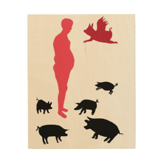 Happy Meal Be Vegeterian ,The Farm , Wood Wall Art