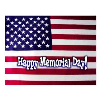 Happy Memorial Day American Flag Postcard