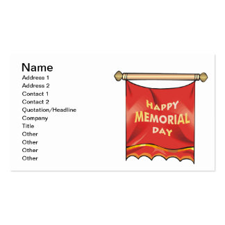 Happy Memorial Day Banner Pack Of Standard Business Cards