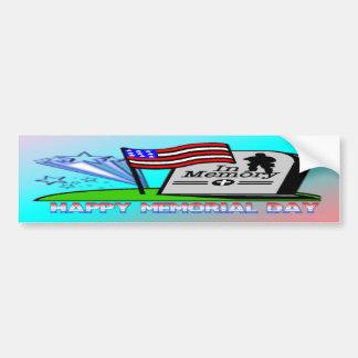 Happy Memorial Day - Flag Gravestone  Bumper Stick Car Bumper Sticker