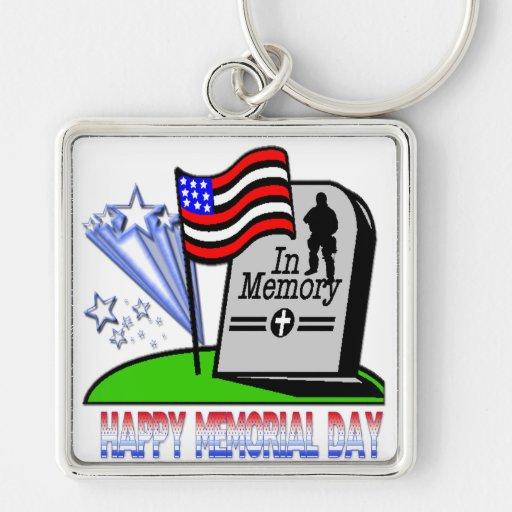 Happy Memorial Day - Flag Gravestone  Keychain