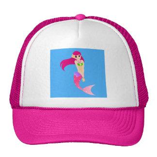 Happy Mermaid Girl with Pink Hair Cap