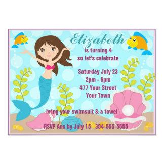 Happy Mermaid Pool Party 13 Cm X 18 Cm Invitation Card