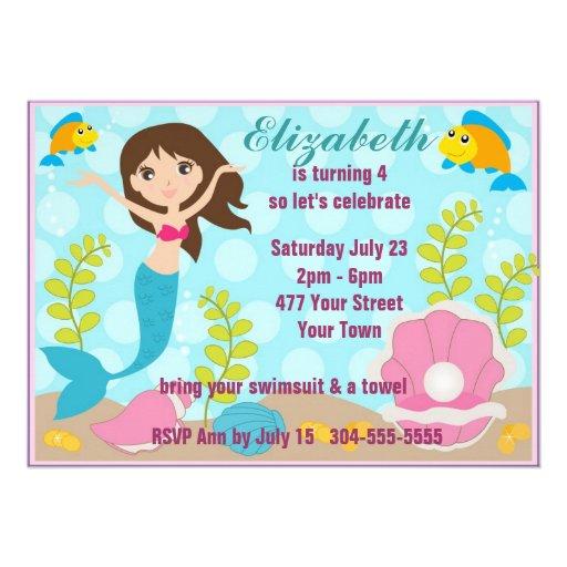 Happy Mermaid Pool Party Custom Invitations