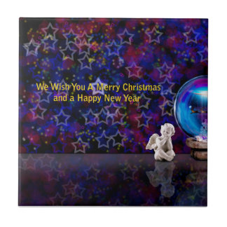 Happy Merry Christmas Small Square Tile