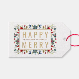 Happy Merry Personalized Holiday Gift Tags