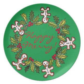 'Happy Merry!' Wreath Green Melamine Plates