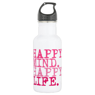 HAPPY MIND. HAPPY LIFE. Fun quote - Water Bottle 532 Ml Water Bottle