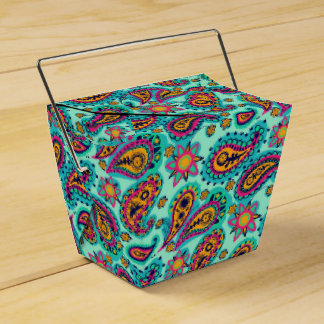 Happy Mint and Orange Paisley Pattern Favour Box