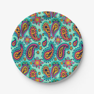 Happy Mint and Orange Paisley Pattern Paper Plate