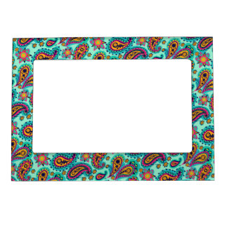 Happy Mint and Orange Paisley Pattern Picture Frame Magnets