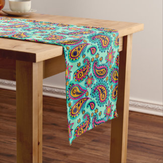 Happy Mint and Orange Paisley Pattern Short Table Runner