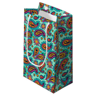 Happy Mint and Orange Paisley Pattern Small Gift Bag