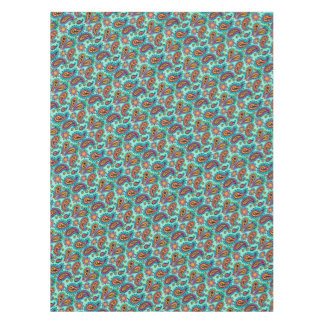 Happy Mint and Orange Paisley Pattern Tablecloth
