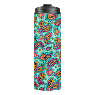 Happy Mint and Orange Paisley Pattern Thermal Tumbler