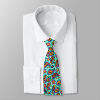 Happy Mint and Orange Paisley Pattern Tie
