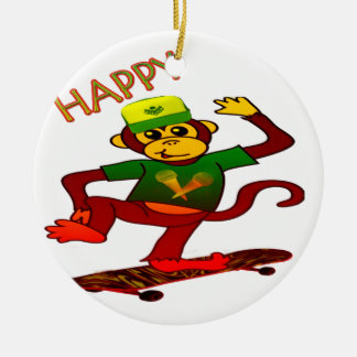 happy Monkey Christmas Ornament