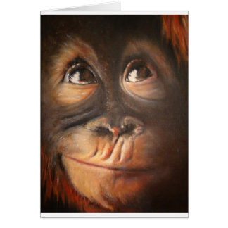 Happy Monkey Smiling Oil Painting Orangutan Card