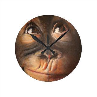 Happy Monkey Smiling Oil Painting Orangutan Round Clock