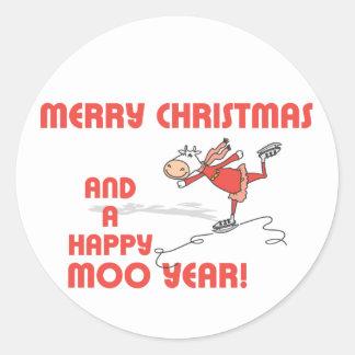 Happy Moo year Round Sticker