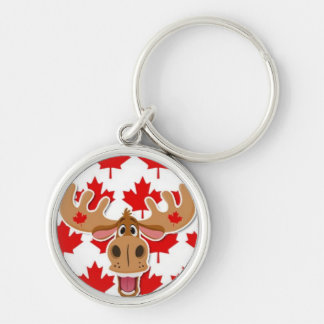 Happy Moose on Maple Leaf Background Silver-Colored Round Key Ring