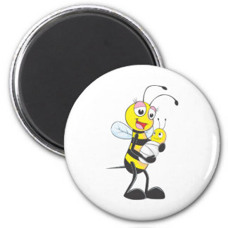 Happy Mother and Baby Bee 6 Cm Round Magnet