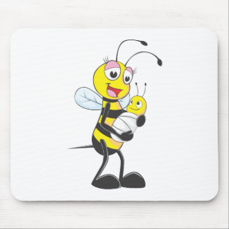 Happy Mother and Baby Bee Mouse Pad