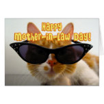 Happy Mother-in-Law Day - Cool Cat with Sunglasses Greeting Card