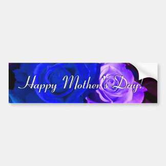Happy Mother s Day Blue Purple Roses Bumper Sticker