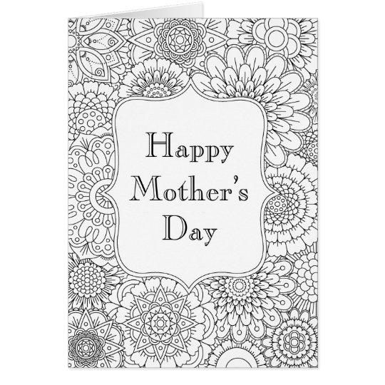Happy Mother's Day Card (Adult Colouring)