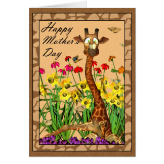 Happy Mother s Day Mothering Sunday with Giraffe Card