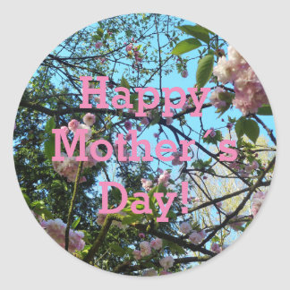 Happy Mother´s Day, Pink Cherry Blossom, Photo Round Sticker