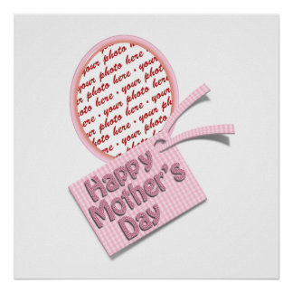 Happy Mother s Day Pink Oval Photo Frame Poster