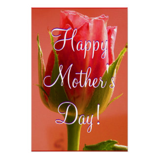 Happy Mother s Day Pink Rose Poster