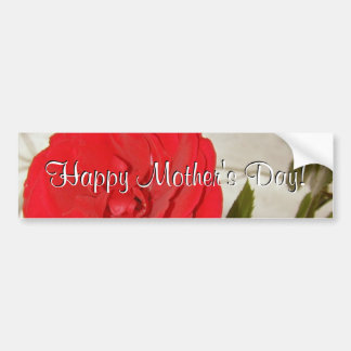 Happy Mother s Day Red Rose Bumper Sticker